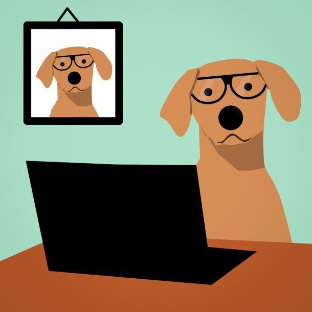 dibujo de perro trabajando